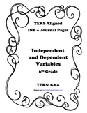 Independent and Dependent Variables INB TEKS 6.6A