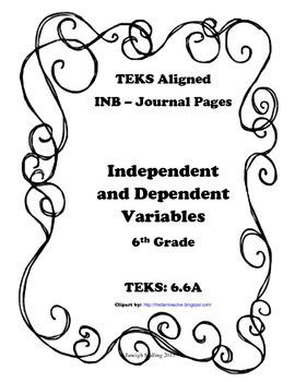 Independent and Dependent Variables INB TEKS 6.6A