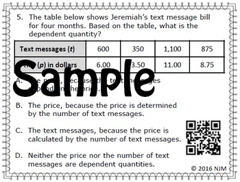 Independent and Dependent Variables Task Cards (for Math Classes)