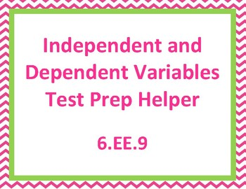 Independent and Dependent Variables Test Prep Helper 6.EE.9