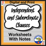 Independent Clauses and Subordinate or Dependent Clauses Worksheets and Guide