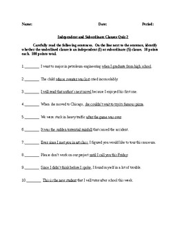Independent and Subordinate/Dependent Clauses - 2 Quizzes - CCSS Aligned