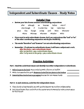 Independent and subordinate (dependent) clauses - quiz assessment packet
