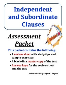 Independent and subordinate (dependent) clauses - quiz ass