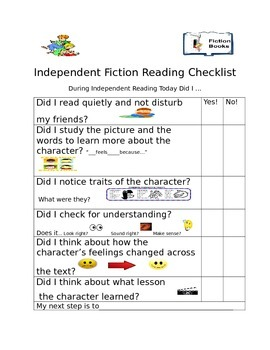 Independent  fiction reading checklist