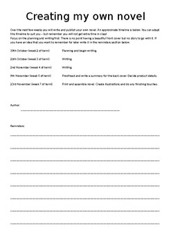 Independent multiple lesson activity: Creating Your Own Novel