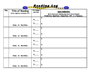 Independent or Homework Reading Logs