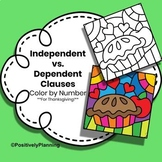 Independent vs. Dependent Clauses Color by Number Thanksgiving