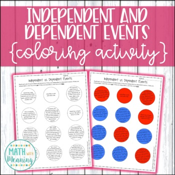 Independent Vs Dependent Events Coloring Activity Compound