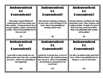 Independent vs Dependent Probability Card Sort