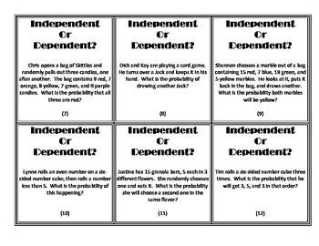independent vs dependent probability card sort by chae coan tpt. Black Bedroom Furniture Sets. Home Design Ideas