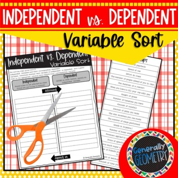 Independent vs. Dependent Variable Sort; Algebra 1