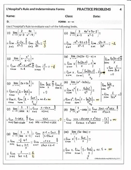 Indeterminate Forms & L'Hospital's Rule - 50 Practice Problems(sol)