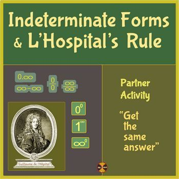 CalcuIus Limits: Indeterminate forms - Partner Activity ( full solutions)