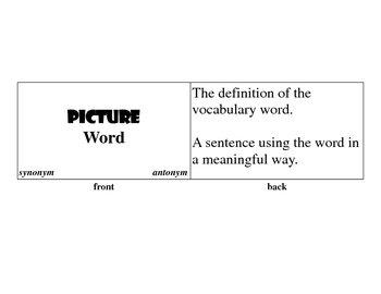 Index Card Vocabulary
