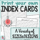 Index Cards Editable Basic Set Plus Designs for Special Occasions