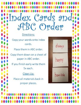 Index Cards and ABC order