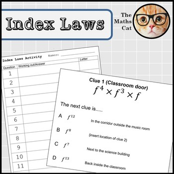 Index Laws Indices Game with clues around the classroom or school