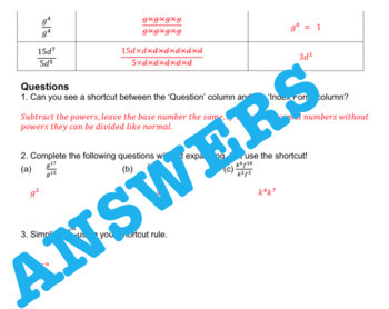 Index Laws Indices Investigation 2 - Dividing