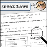 Index Laws Indices Investigation 5 - Negative Indices