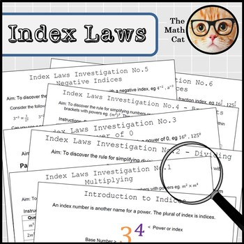 Index Laws Indices Investigations Bundle