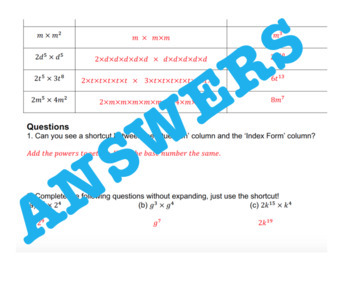 Index Laws Investigation 1 - Multiplying