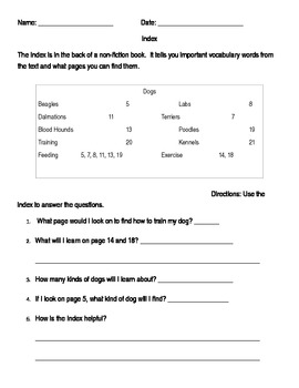 Index Worksheet