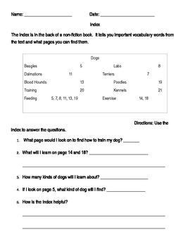 Index Worksheet