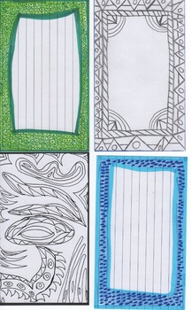 Index card sample set - Pre-Colored borders and for student coloring