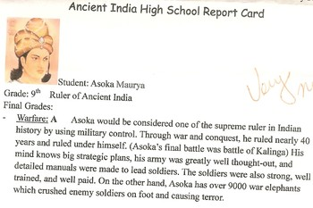 India: Asoka Report Card (project based learning activity)