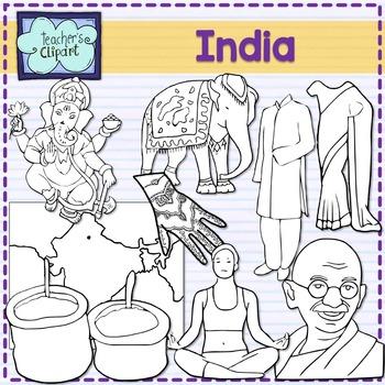 India Clip art {Social Studies clip art}