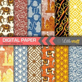 India Digital Papers, Indian Digital Backgrounds, Elephants, Taj Mahal