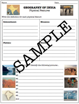 India Geography: Physical Features PowerPoint and Worksheet