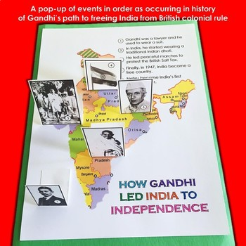 India! Mahatma Gandhi - Lesson, Pop-Up Activity Craft for Grades K - 2