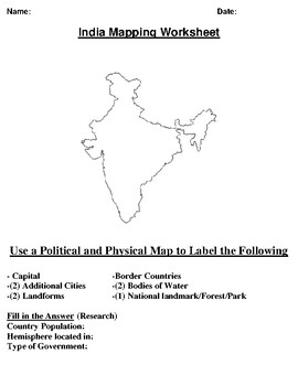 India Mapping Worksheet w/ Middle East Word Search
