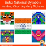 India National Symbols Hundred Chart Mystery Pictures with Number Cards