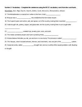India Notes and Quiz - from Unit 1 of McGraw-Hill Grade 6 The World