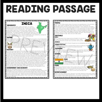 India Overview Reading Comprehension; Countries; Asia