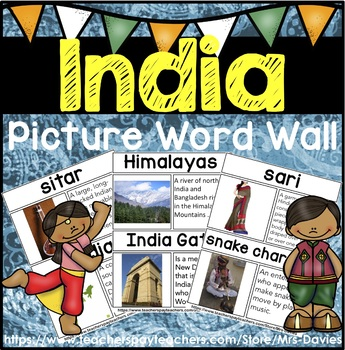 India Picture Word Wall by Mrs Davies | Teachers Pay Teachers