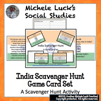 India Scavenger Hunt Game Card Set or Archeological Dig FUN! Task Cards!