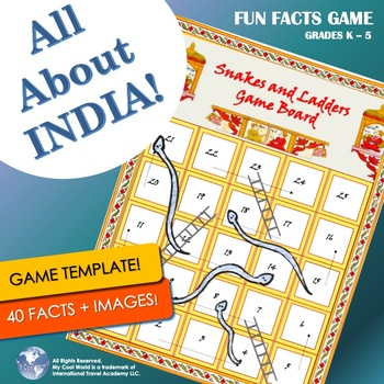 India! Snakes & Ladders, Indian Trivia Game w Images | Printable Game Materials