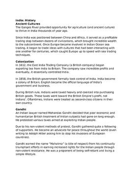India - Social Studies Lecture Notes/Handout