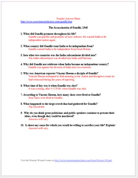 India: The Assassination of Gandhi Primary Source Worksheet