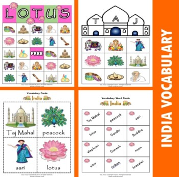 India Themed Bingo / Matching Activities