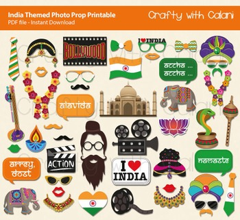 India Themed Photo Prop Printable - 49 ready to print images