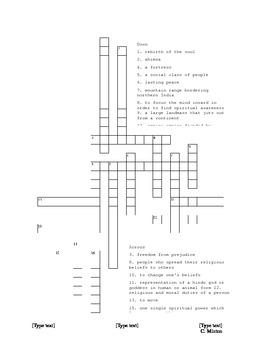India Unit Vocabulary Crossword
