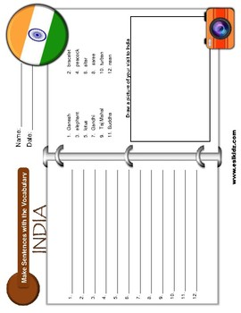 India Vocabulary Identify Activity