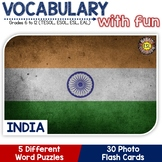 India - Country Symbols: 5 Different Word puzzles and 30 P