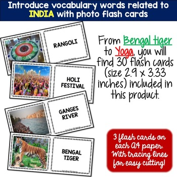 India - Country Symbols: 5 Different Word puzzles and 30 Photo Flash Cards