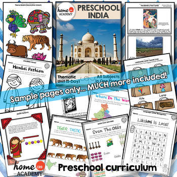 India - Weekly Unit for Preschool, PreK or Homeschool Preschool